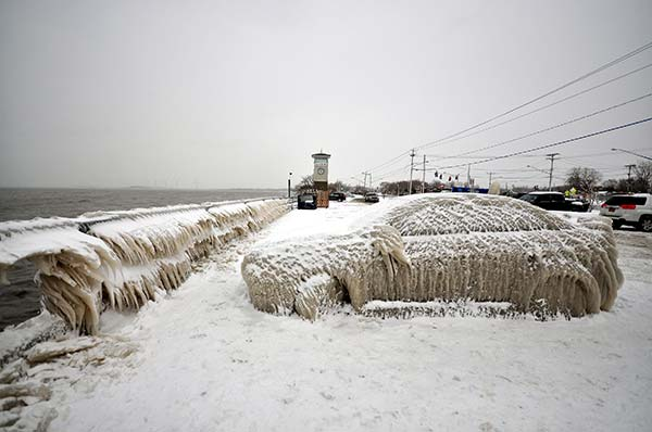 Abandoned Car Covered in Thick Snow & Ice