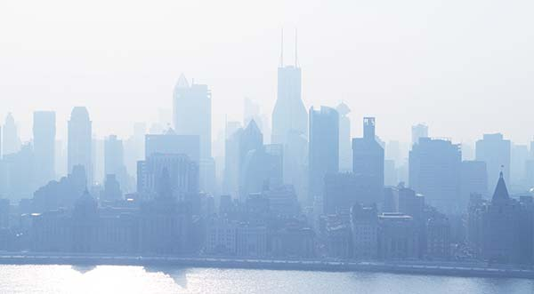 Smog Hanging Over City Skyline