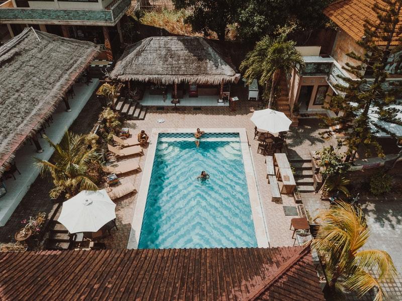 People in Tiki Bar Pool