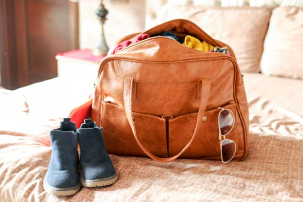 Weekend Bag Packed on Bed
