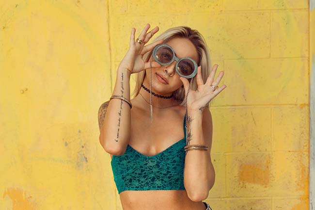 Attractive Blonde Girl in Sunglasses