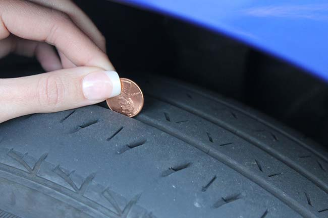 Checking Tyre Tread with Penny