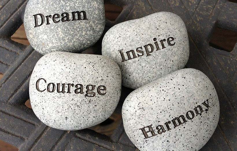 Stones with Inspiring Messages