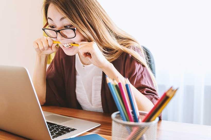 Girl Struggling with Homework