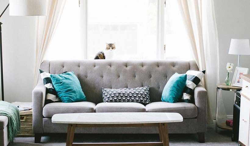 Grey Sofa & Teal Pillows