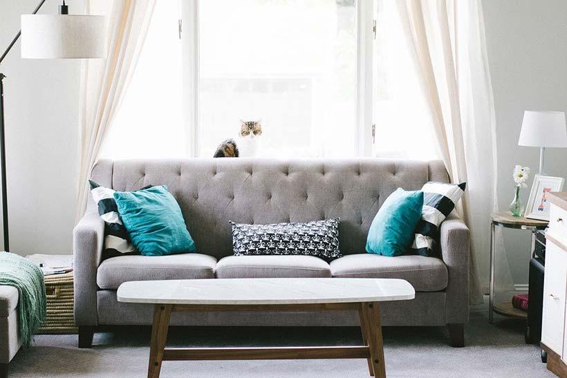 Grey Sofa & Teal Pillows