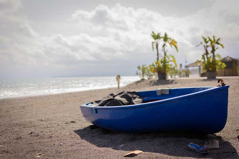 Blue Boat on Beach Sicily