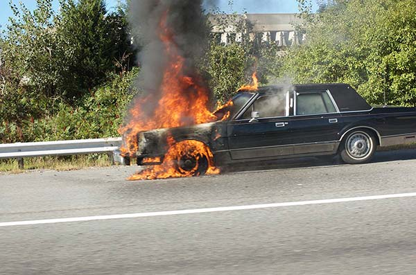 Car with Engine on Fire