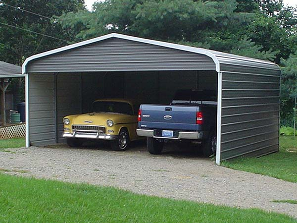 Two Cars in a Metal Carport