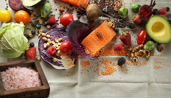 Fresh Vegetables Fish and Salt