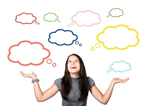 Young Woman Positive Thought Bubbles