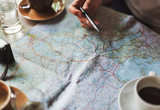 Looking at a Printed Map