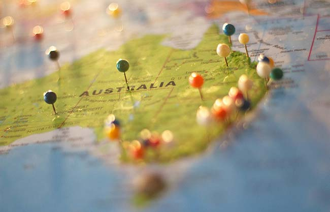 Pinned Map of Australia