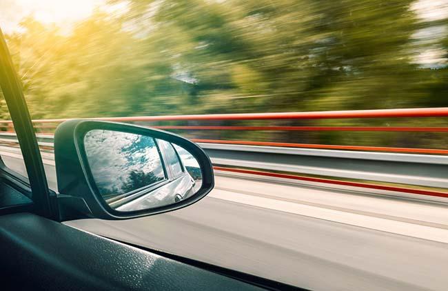 View of Car Rear Mirror