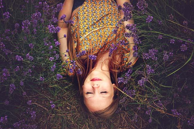Girl Sleeping Beside Lavender