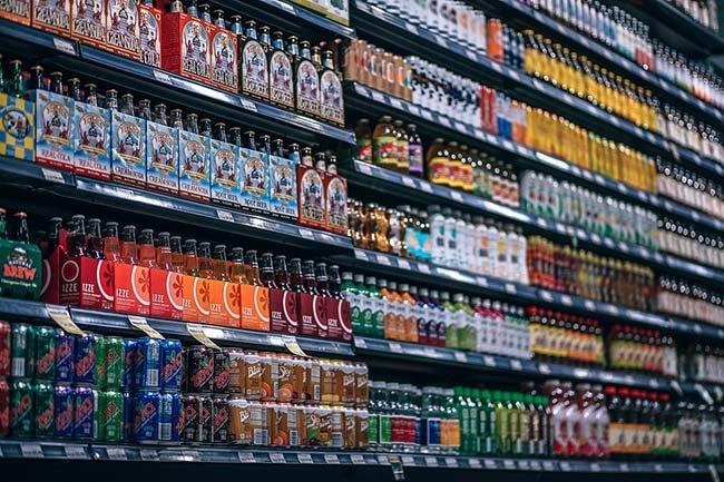 Shop Refrigerator Full of Sugary Drinks