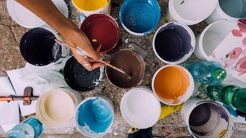 Various Pots of Coloured Paints