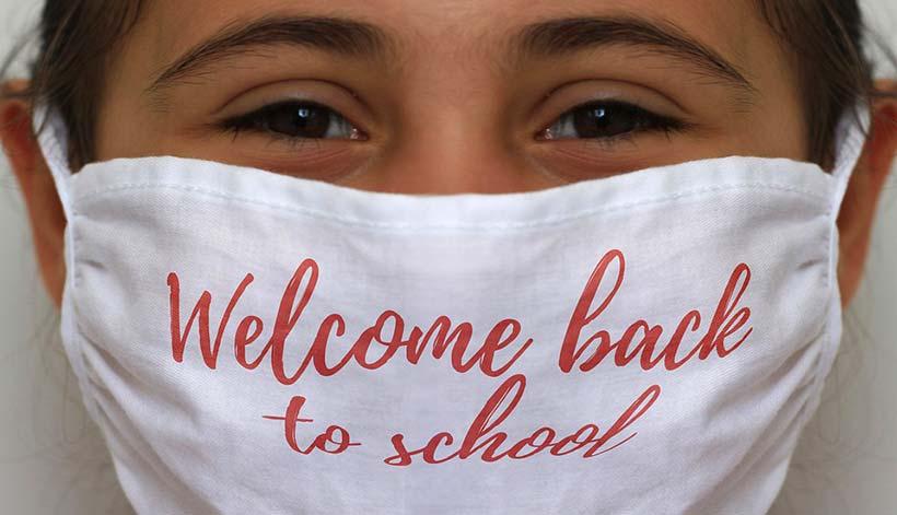 Schoolgirl Wearing Facemask
