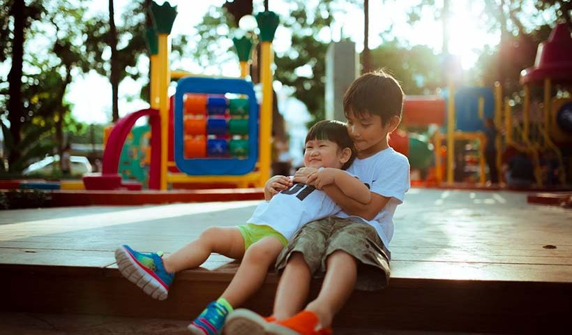 Two Asian Children Playing